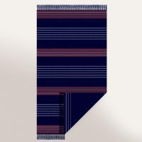 Drap de plage Fouta 100x180 cm 100% coton 270 g/m2 MAROTTA bleu rayures rouge et blanc