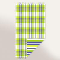 Drap de plage Fouta 100x180 cm 100% coton 270 g/m2 SENIGALLIA vert et bleu à carreaux