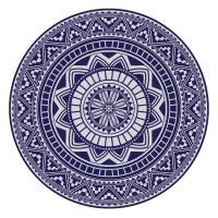 Drap de plage Fouta ronde R180 cm 100% coton 290 g/m² GARGANO Mosaic arabesque Bleu