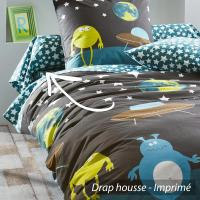 Drap housse 90x190 cm 100% coton MONSTERS