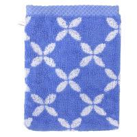 Gant de toilette 16x21 cm SHIBORI floral Bleu 500 g/m2