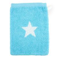 Gant de toilette 16x21 cm 100% coton 480 g/m2 STARS Bleu Turquoise