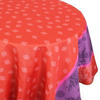 Nappe ovale 180x240 cm imprimée 100% polyester GARRIGUE Florale rouge Carmin