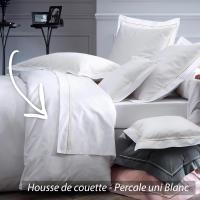 Housse de couette 140x200 cm uni Percale pur coton HOTEL DE PARIS Blanc