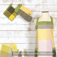 Set de cuisine Cocina 4 pieces : tablier, gant, manique et torchon - Carreaux vert et jaune