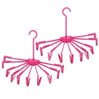 Lot de 2 séchoirs à linge pliables à suspendre avec 10 pinces en plastique rose
