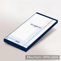 Lot de 3 mouchoirs Homme 43x43 cm Classic Blanc liserés et bande de couleurs