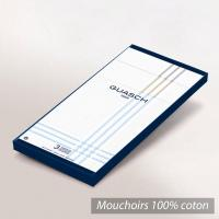 Lot de 3 mouchoirs Homme 43x43 cm Classic Blanc liserés blancs