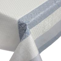 Nappe rectangle 150x350 cm Jacquard 100% coton + enduction acrylique MOSAIC PERLE Gris