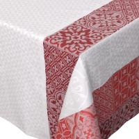 Nappe rectangle 150x350 cm Jacquard 100% coton + enduction acrylique MOSAIC RUBIS Rouge