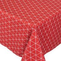 Nappe rectangle 150x350 cm imprimée 100% polyester PACO géométrique rouge Cerise