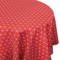 Nappe ronde 180 cm imprimée 100% polyester PACO géométrique rouge Cerise