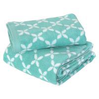 Parure de bain 2 pièces SHIBORI floral Vert 100% coton 500 g/m2