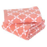 Parure de bain 2 pièces SHIBORI floral Orange 100% coton 500 g/m2