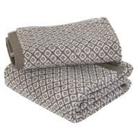 Parure de bain 2 pièces SHIBORI mosaic Beige 100% coton 500 g/m2