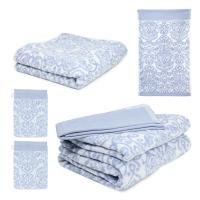 Parure de bain 5 pièces BOLERO FLORAL Bleu 520 g/m2