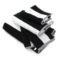 Parure de bain 5 pièces MONA rayure blanc & noir 100% coton 480 g/m2