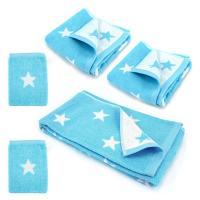 Parure de bain 5 pièces 100% coton 480 g/m2 STARS Bleu Turquoise