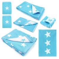 Parure de bain 7 pièces 100% coton 480 g/m2 STARS Bleu Turquoise