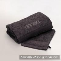 Lot ROYAL CRESENT Serviette brodée Linnea 50x100 + gant assorti - marron Chocolat