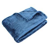 Plaid polaire microvelours 130x150 cm VELVET Bleu de prusse Bleu 100% Polyester 320 g/m2 Traitement non-feu 12952