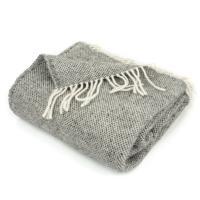 Plaid tissage armuré natté 130x170 cm laine lambswool 360 g/m2 Malmoe Gris