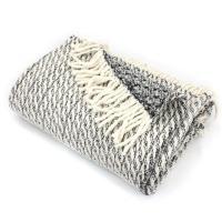 Plaid tissage torsadé 130x170 cm laine Lambswool 600 g/m² TORSADO Anthracite