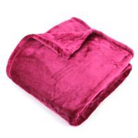 Plaid polaire 130x150 cm microvelours100% Polyester 320 g/m2, VELVET Rouge Framboise