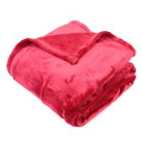 Plaid polaire 130x150 cm microvelours 100% Polyester 320 g/m2, VELVET Rouge