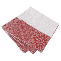 Lot de 3 serviettes de table 45x45 cm Jacquard 100% coton - sans enduction MOSAIC RUBIS Rouge