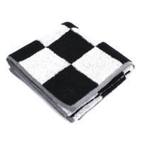 Serviette de toilette 50x100 cm MONA carreaux blanc & noir 100% coton 480 g/m2