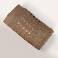 Serviette de toilette 50x100 cm 100% coton 550 g/m2 PURE POINTS Marron Taupe
