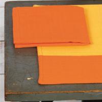 Set de table Cocina 45x33 cm avec serviette assortie - Damier orange et jaune