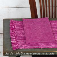Set de table Cocina 45x33 cm avec serviette assortie - Franges rose et fuchsia