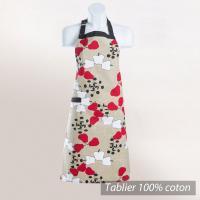 Tablier de cuisine 72x86 cm COCINA Ecru motifs imprimés pommes rouges et blanches
