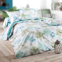 Taie de traversin 140x43 cm Percale 100% coton TROPICAL bleu Emeraude