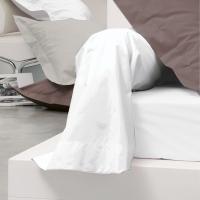 Taie de traversin uni 185x43 cm pur percale PRIMO Blanc