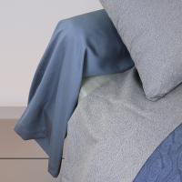 Taie de traversin 240x45 cm uni Satin de coton VENDOME Bleu foncé