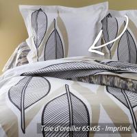 Taie d'oreiller 65x65 cm 100% coton LEAF BLANC * DESTOCKAGE *