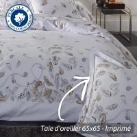 Taie d'oreiller 65x65 cm Percale pur coton PLUMES