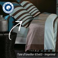 Taie d'oreiller 65x65 cm Percale pur coton STRIPE BLEU