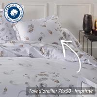 Taie d'oreiller 70x50 cm Percale pur coton PLUMES