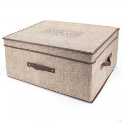 Boite de rangement DELUXE cartonnée avec couvercle 50L marron