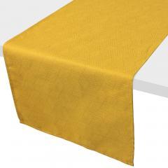 Chemin de table 45x150 cm Jacquard 100% coton CUBE jaune Curcuma