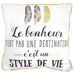 Coussin 40x40 cm BE HAPPY blanc or