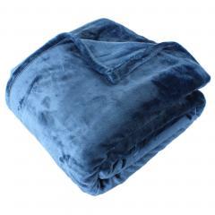 Couverture polaire microvelours 180x240 cm VELVET Bleu de prusse Bleu 100% Polyester 320 g/m2 Traitement non-feu 12952