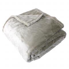 Couverture polaire microvelours 220x240 cm VELVET Galet Marron 100% Polyester 320 g/m2 Traitement non-feu 12952