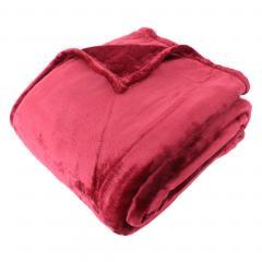 Couverture polaire microvelours 240x260 cm VELVET Bourgogne Rouge 100% Polyester 320 g/m2 Traitement non-feu 12952