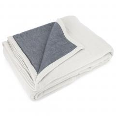 Couverture été 220x240 cm 100% coton 260 g/m2 PROVENCE bicolore gris perle/acier