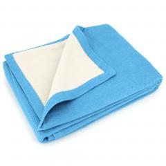 Couverture été 240x260 cm 100% coton 260 g/m2 PROVENCE bicolore bleu cendré/galet